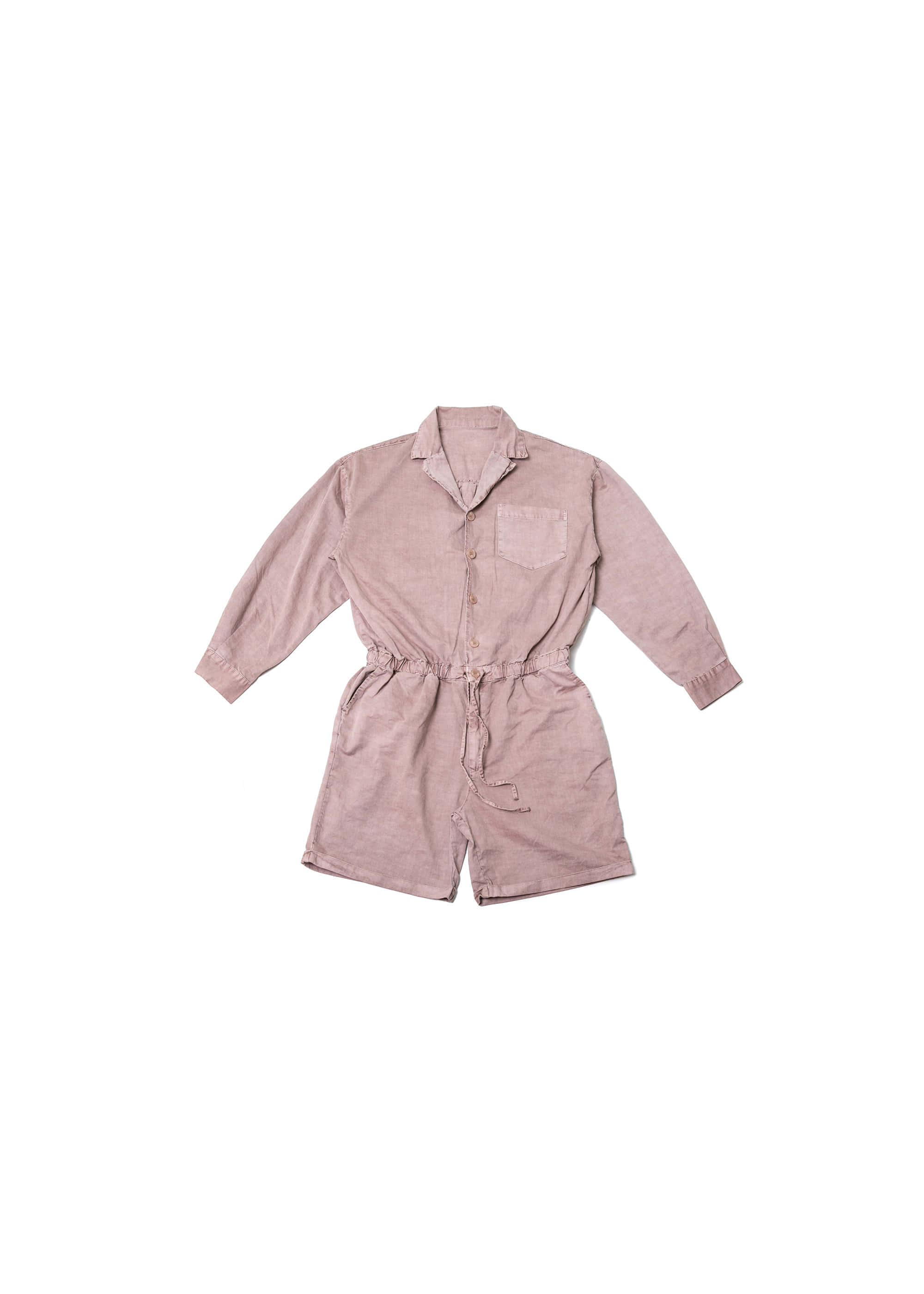 Pigment Washing Half Coverall - Red Brown