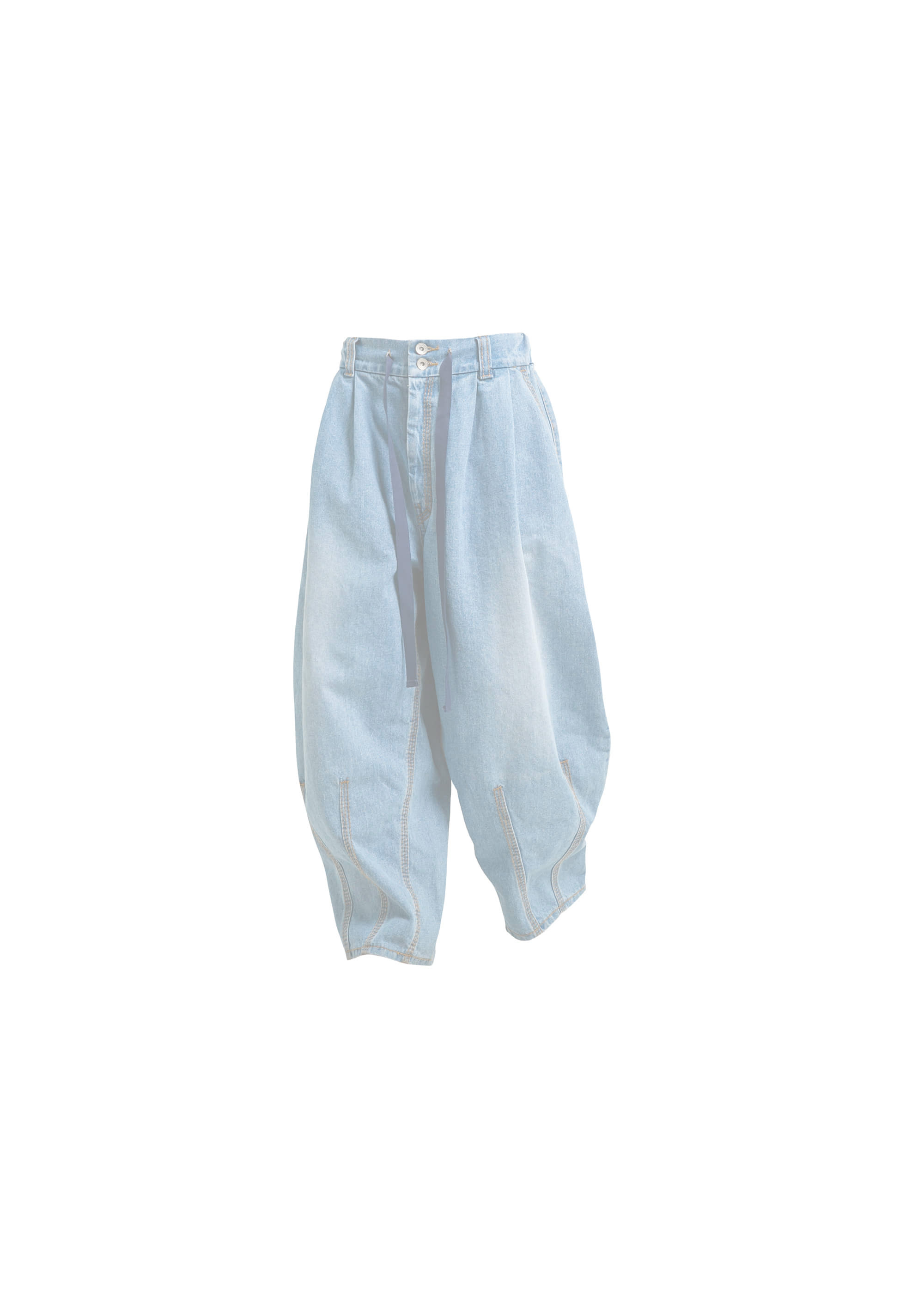 [AG] Big Stitch Denim Balloon Pants - Light Blue