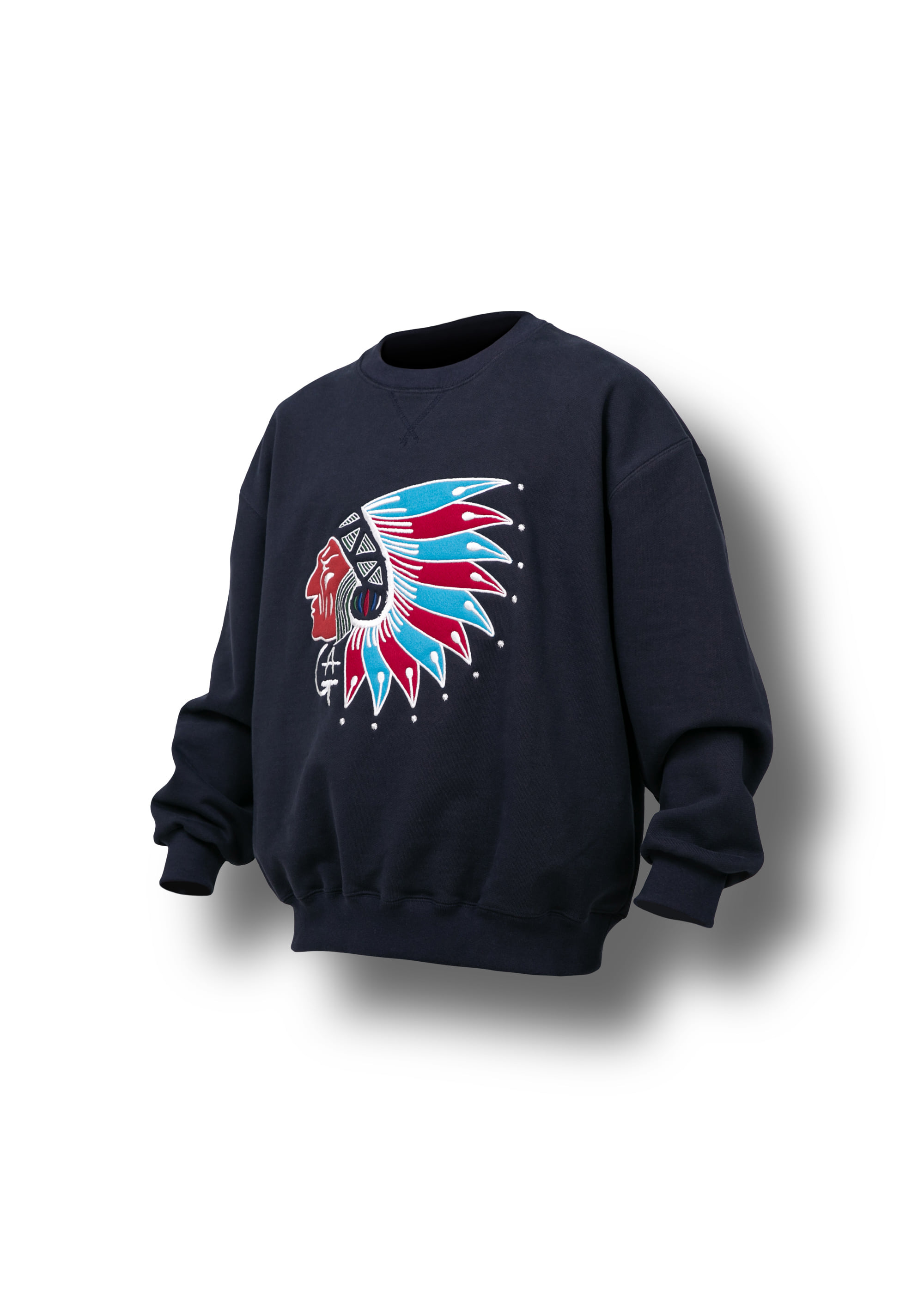 [AG] Native American Embroidery Sweat Shirts - Navy