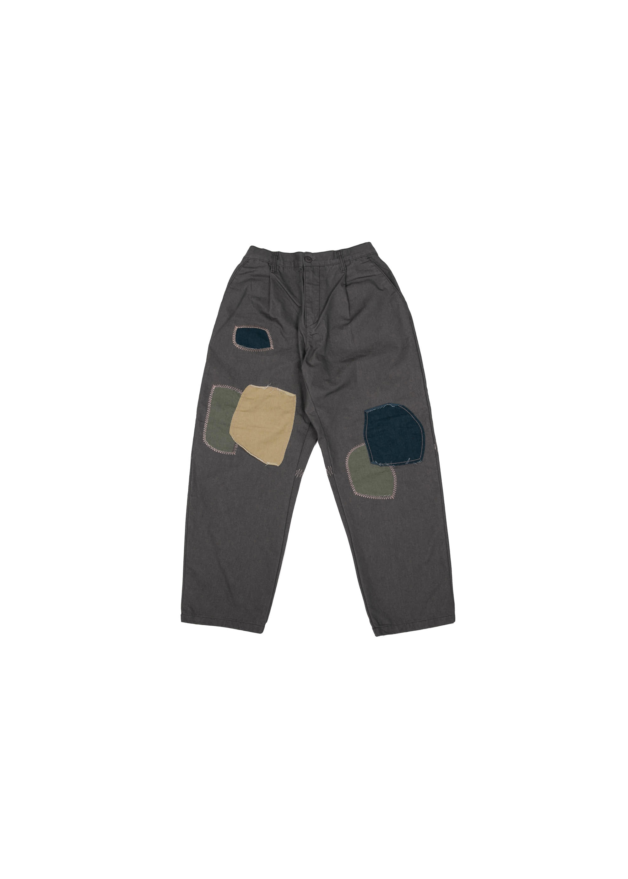 Color Combi Stitch Patch Pants - Charcoal