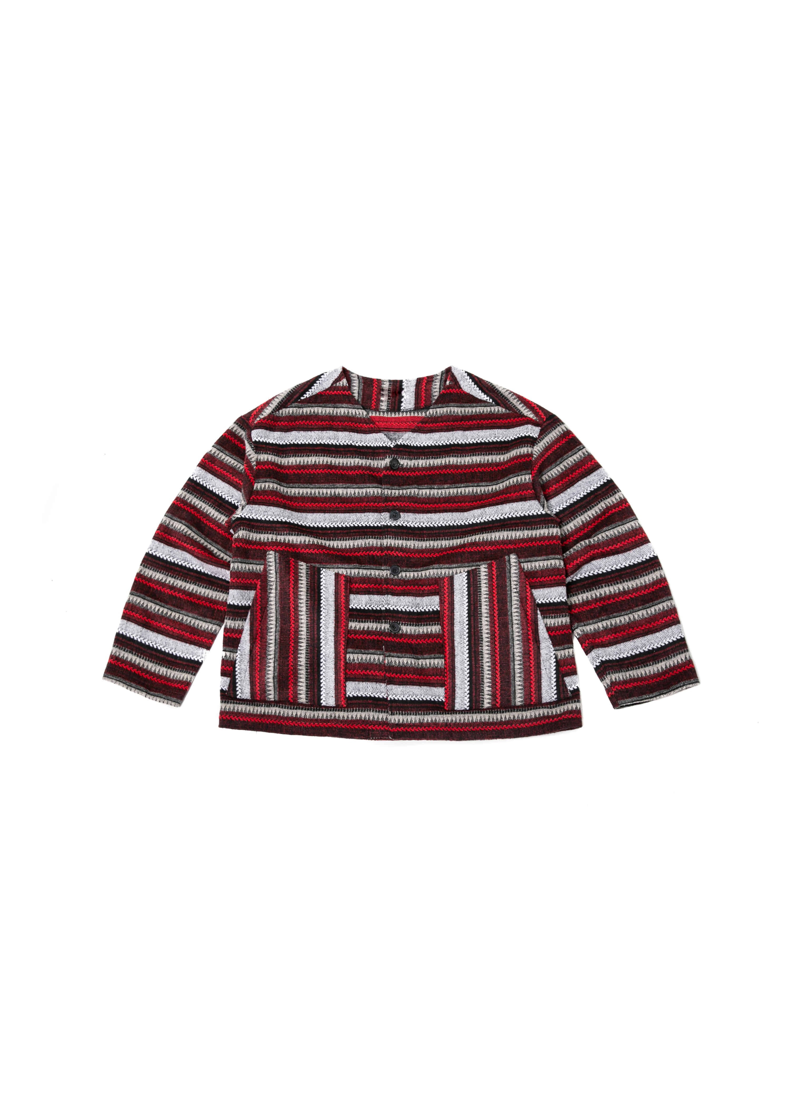Ethnic Stripe Over Cardigan - Red