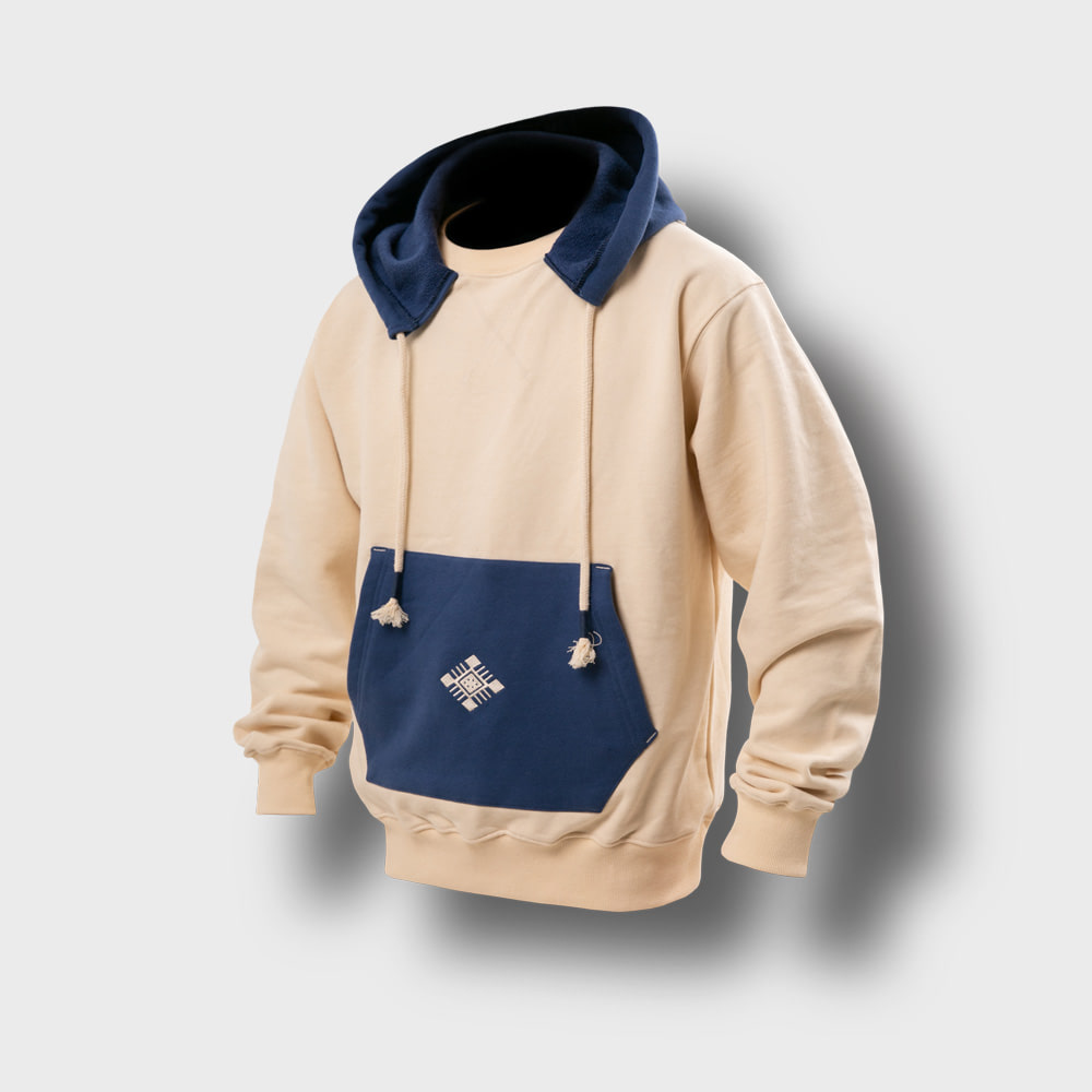 [AG] Ethnic Color Combi Hoodie - Blue