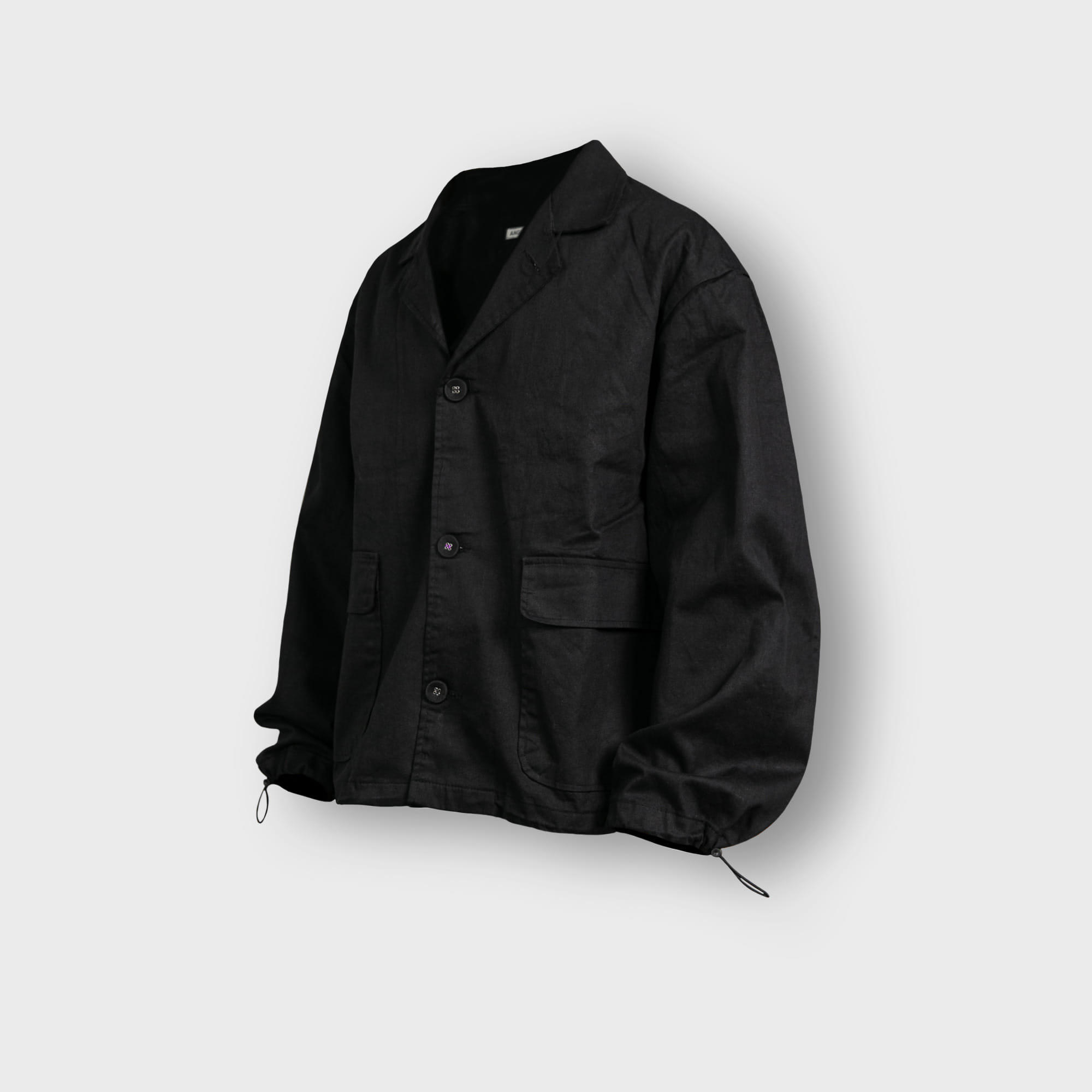 [AG] Twill Cotton String Shirt Jacket - Black