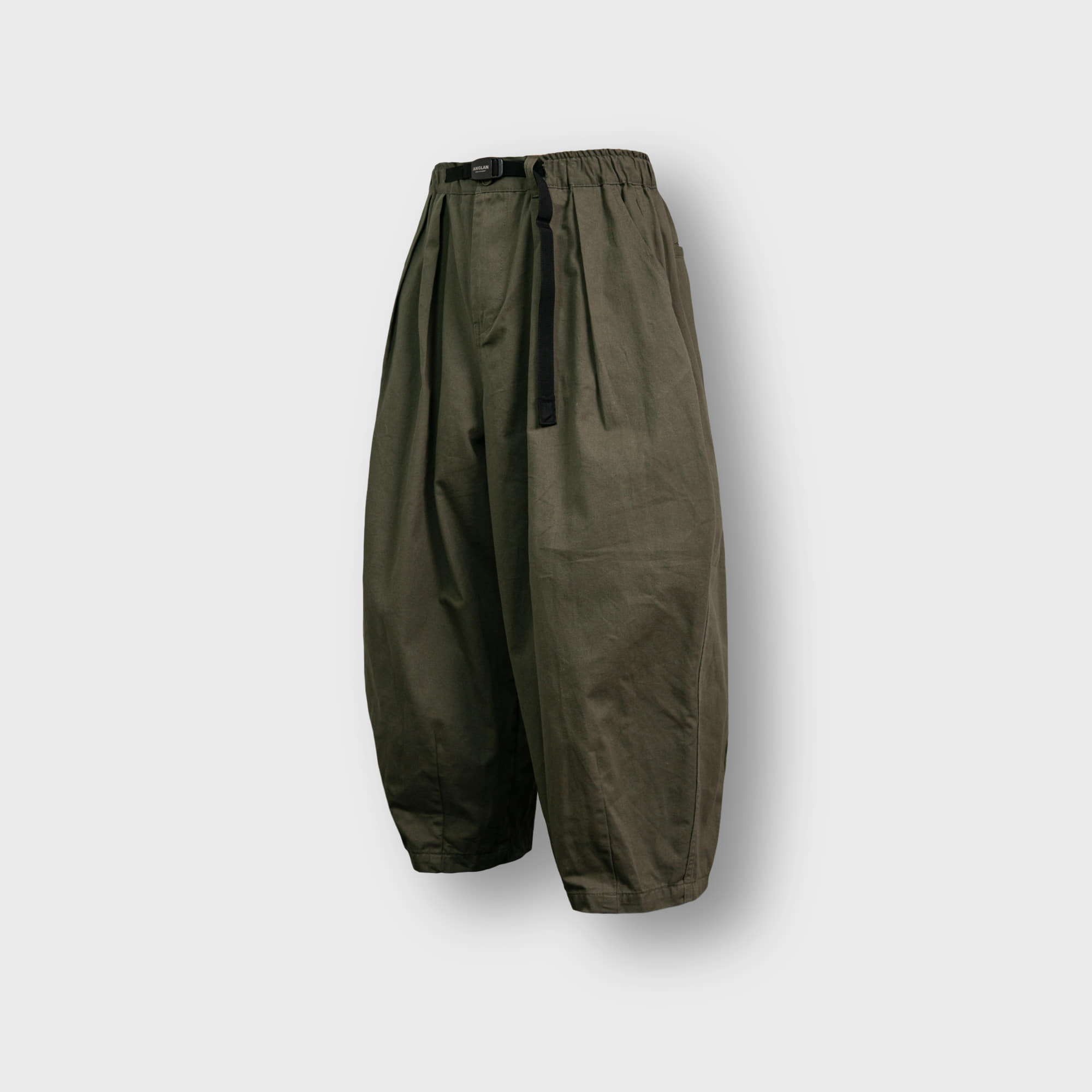 [AG] Twill Cotton Belt Balloon Pants - Khaki