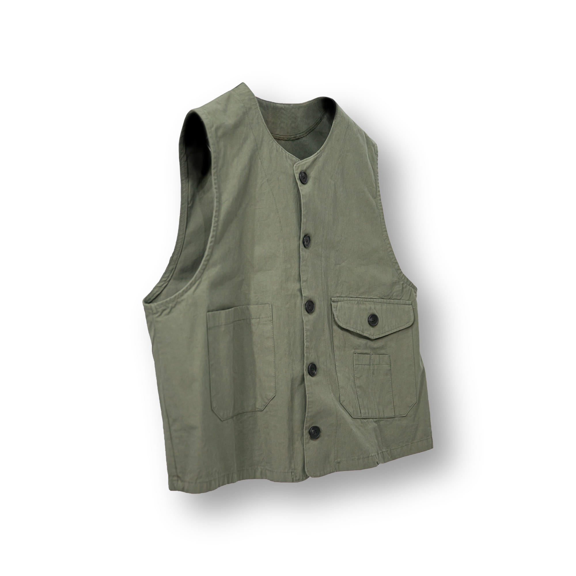 Utility Pocket Cotton Wide Vest - Khaki