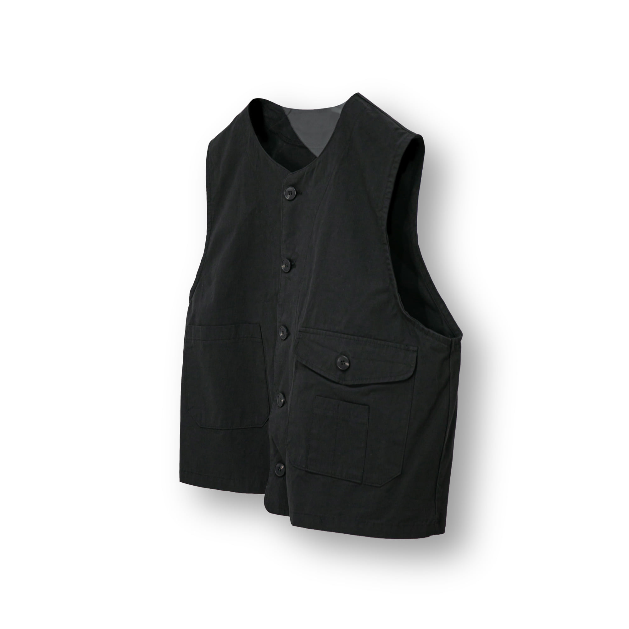 Utility Pocket Cotton Wide Vest - Black