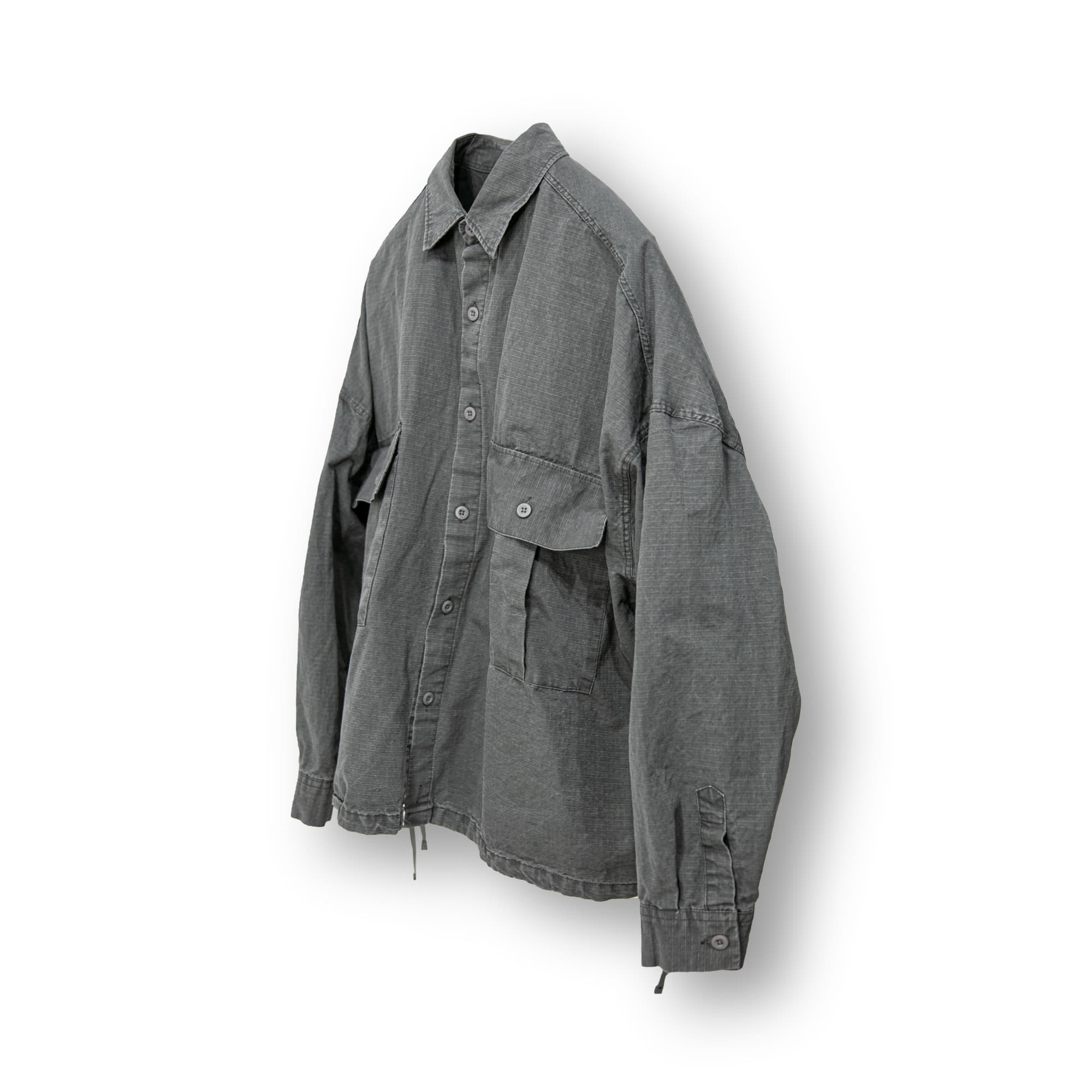 Rib Army Cargo Over Shirt - Charcoal
