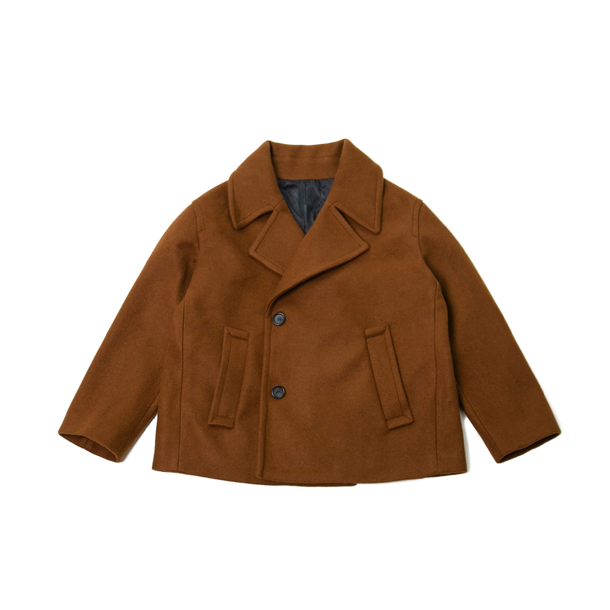 Double Breasted Wool Pea Coat - Brown