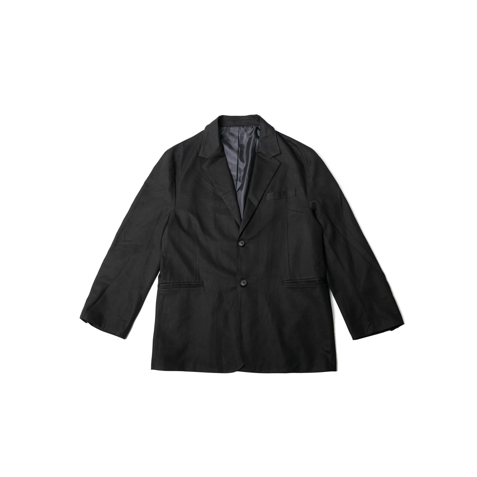 Heavy Cotton Wide Blazer Jacket - Black