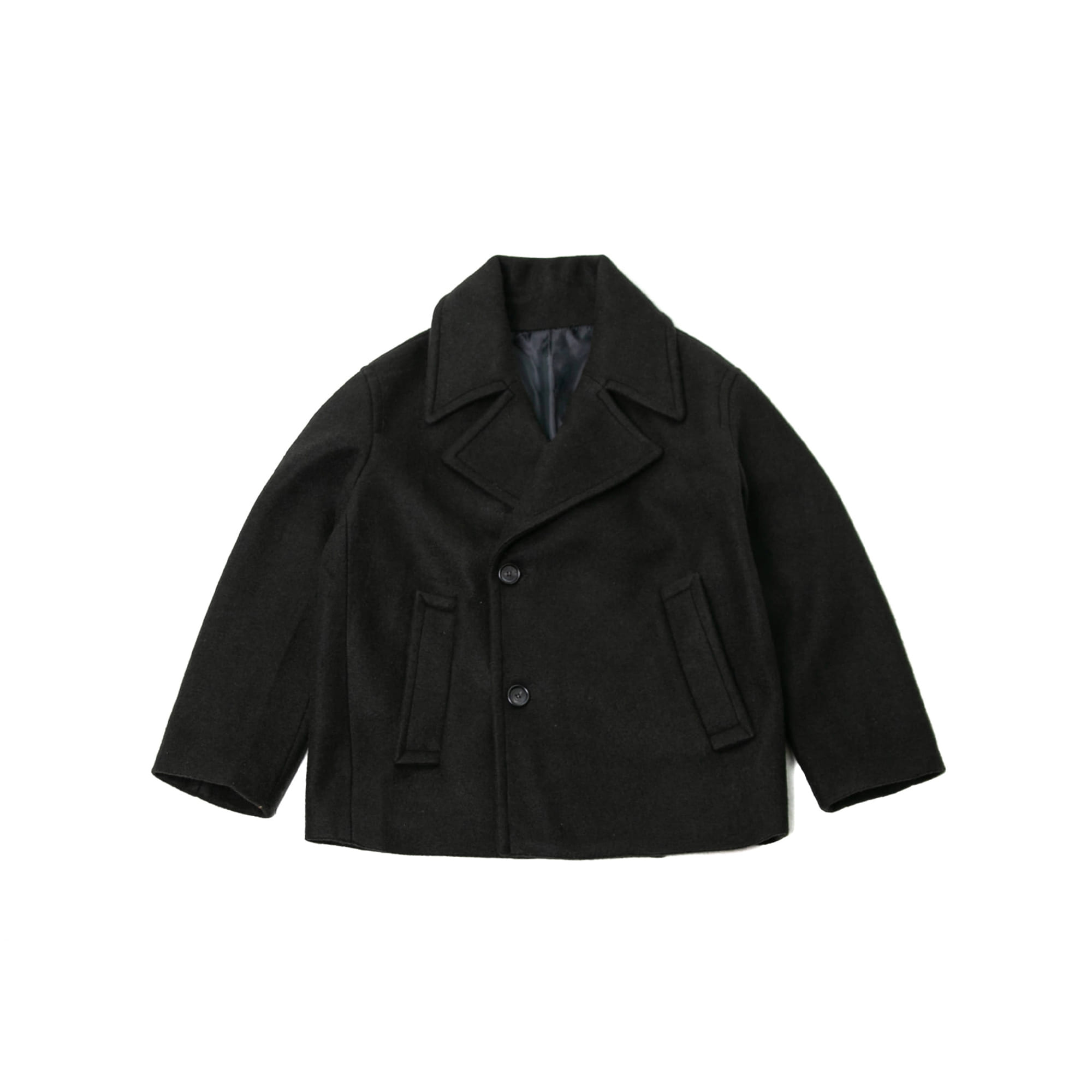 Double Breasted Wool Pea Coat - Black