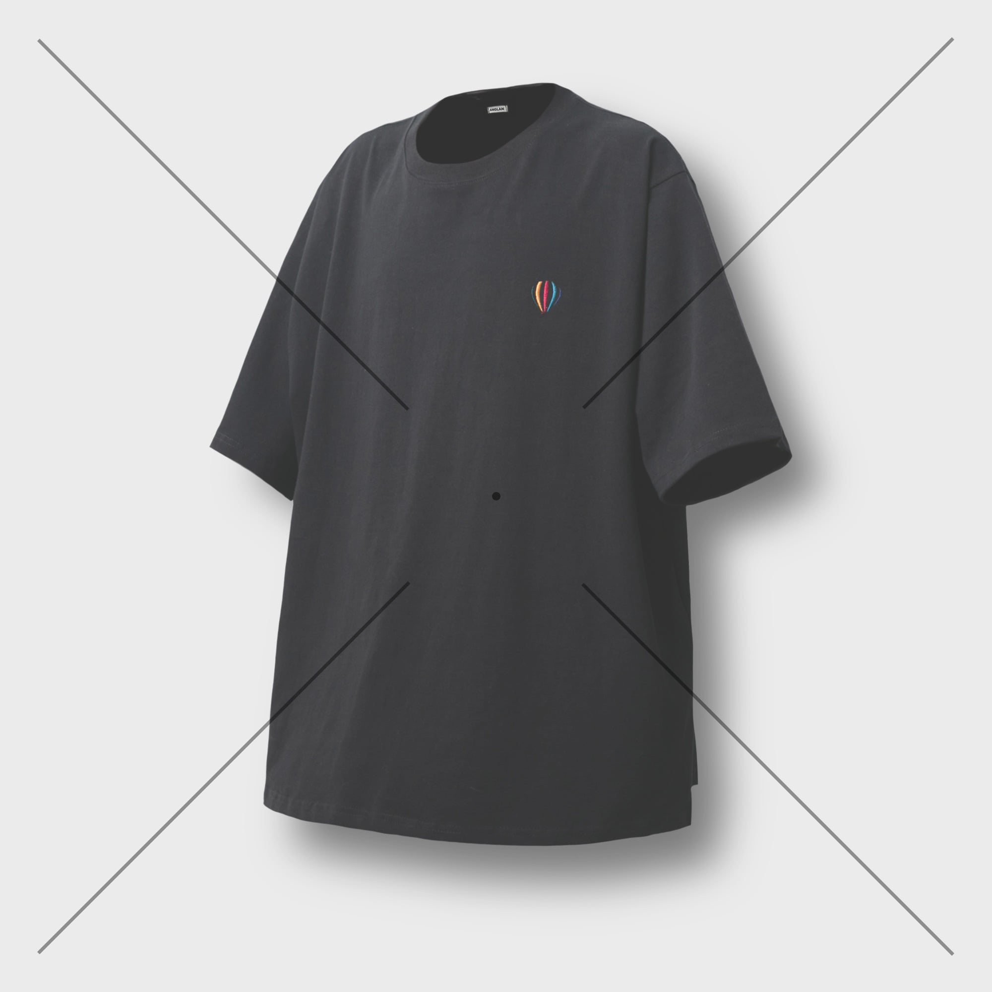 [AG] Balloon Logo Side Opening Tee - Black