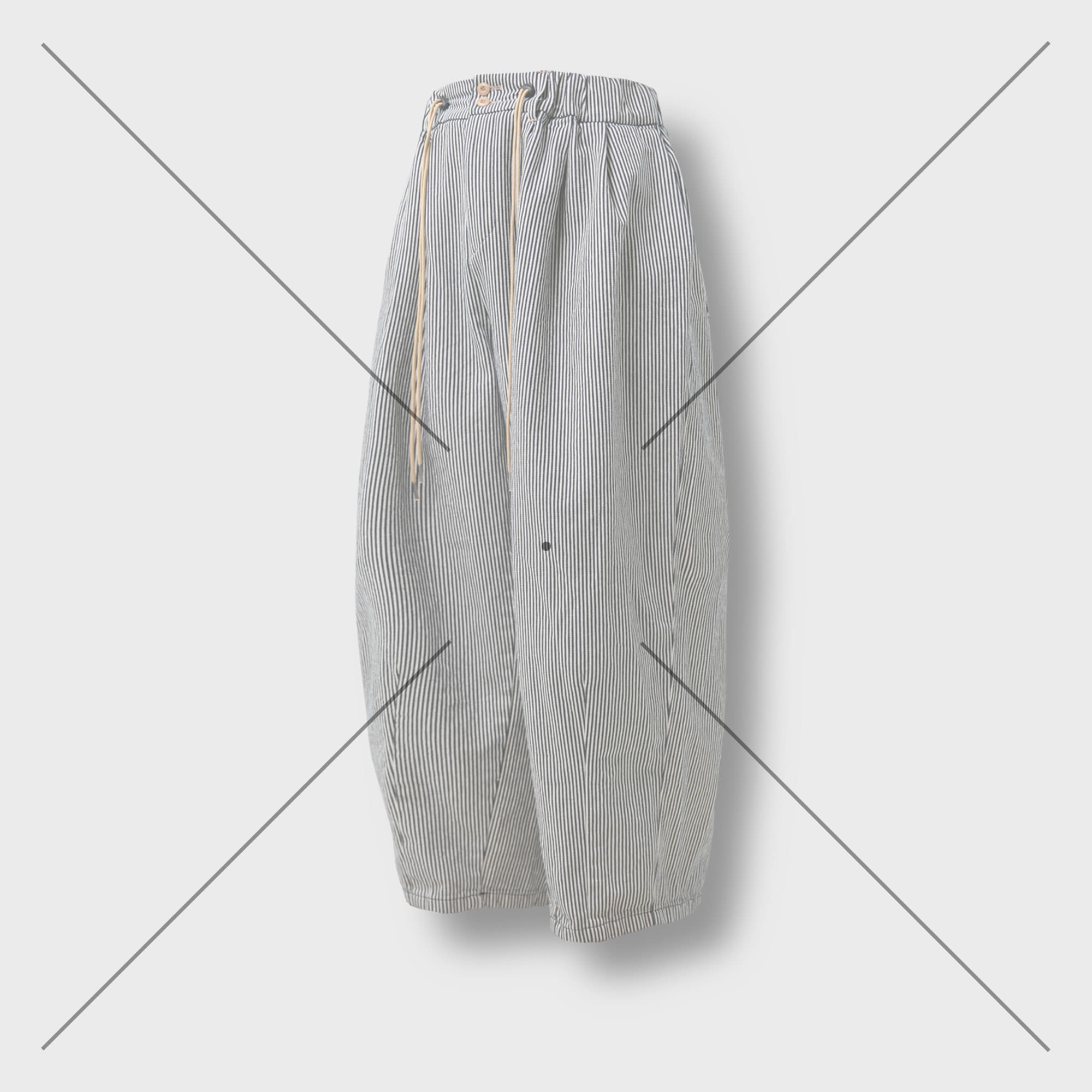[AG] Raw Denim String Balloon Pants - Hickory