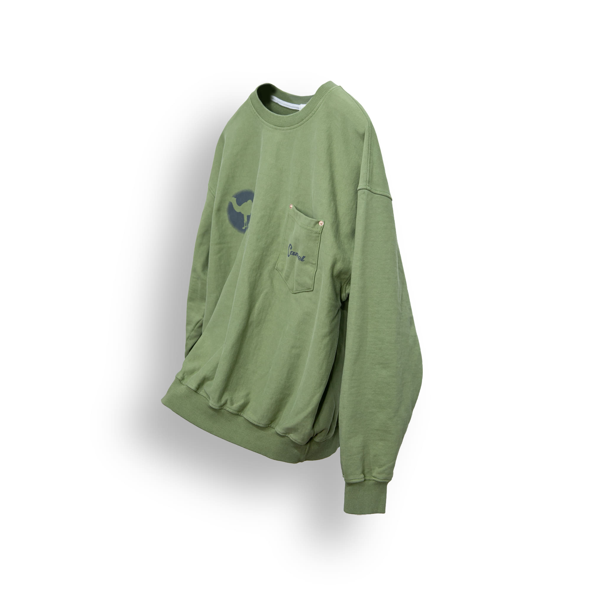 Washed Printing Over Sweat Shirt - Khaki