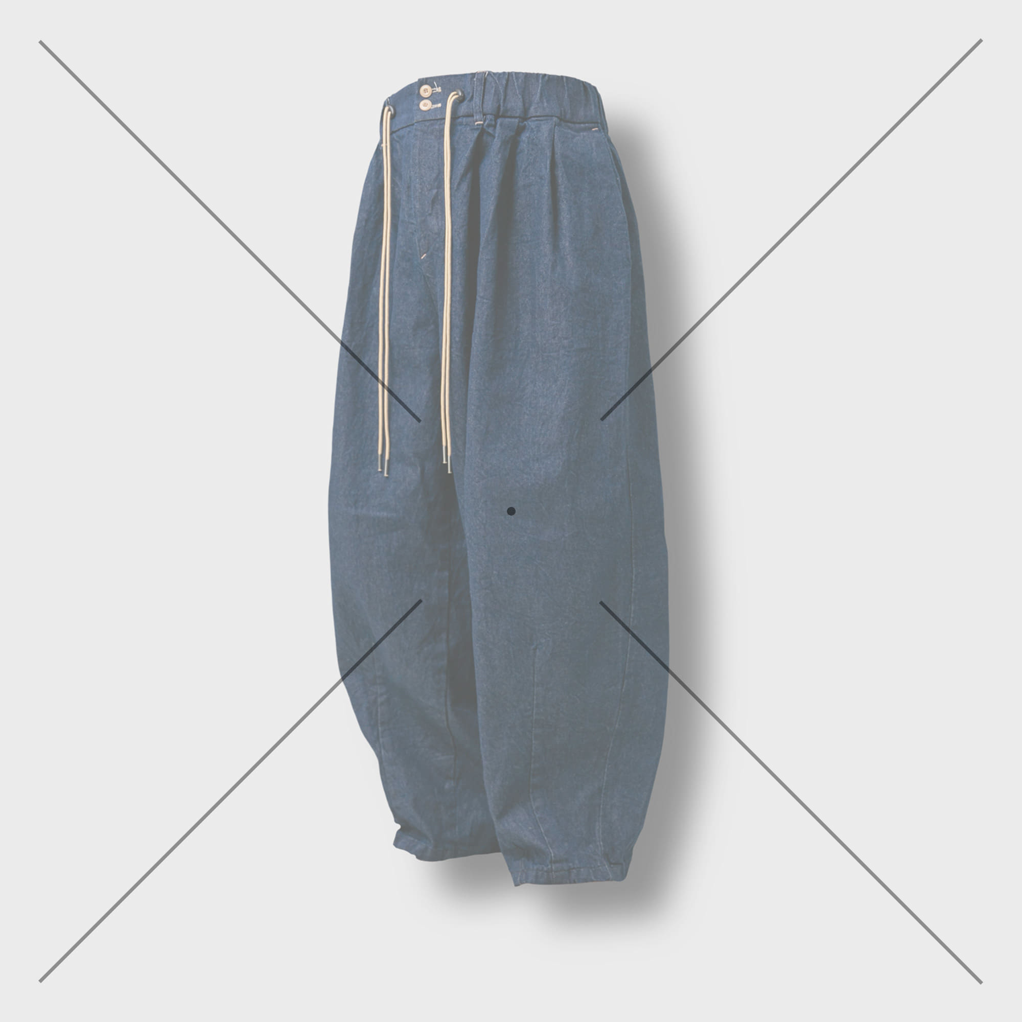 [AG] Raw Denim String Balloon Pants - Dark Blue