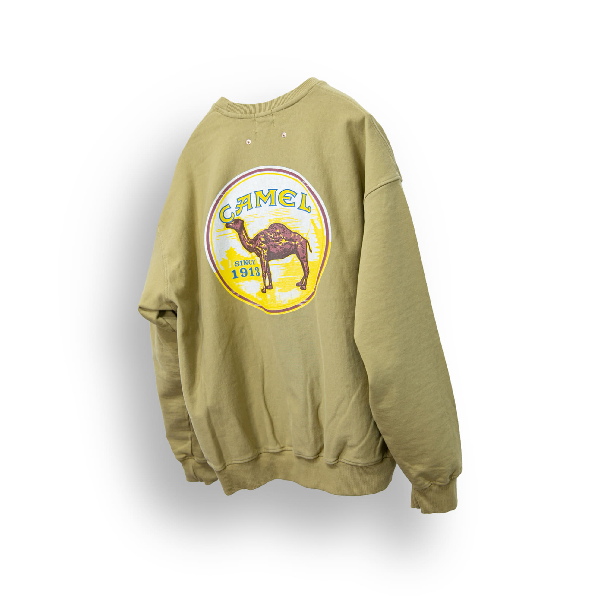 Washed Printing Over Sweat Shirt - Mustard