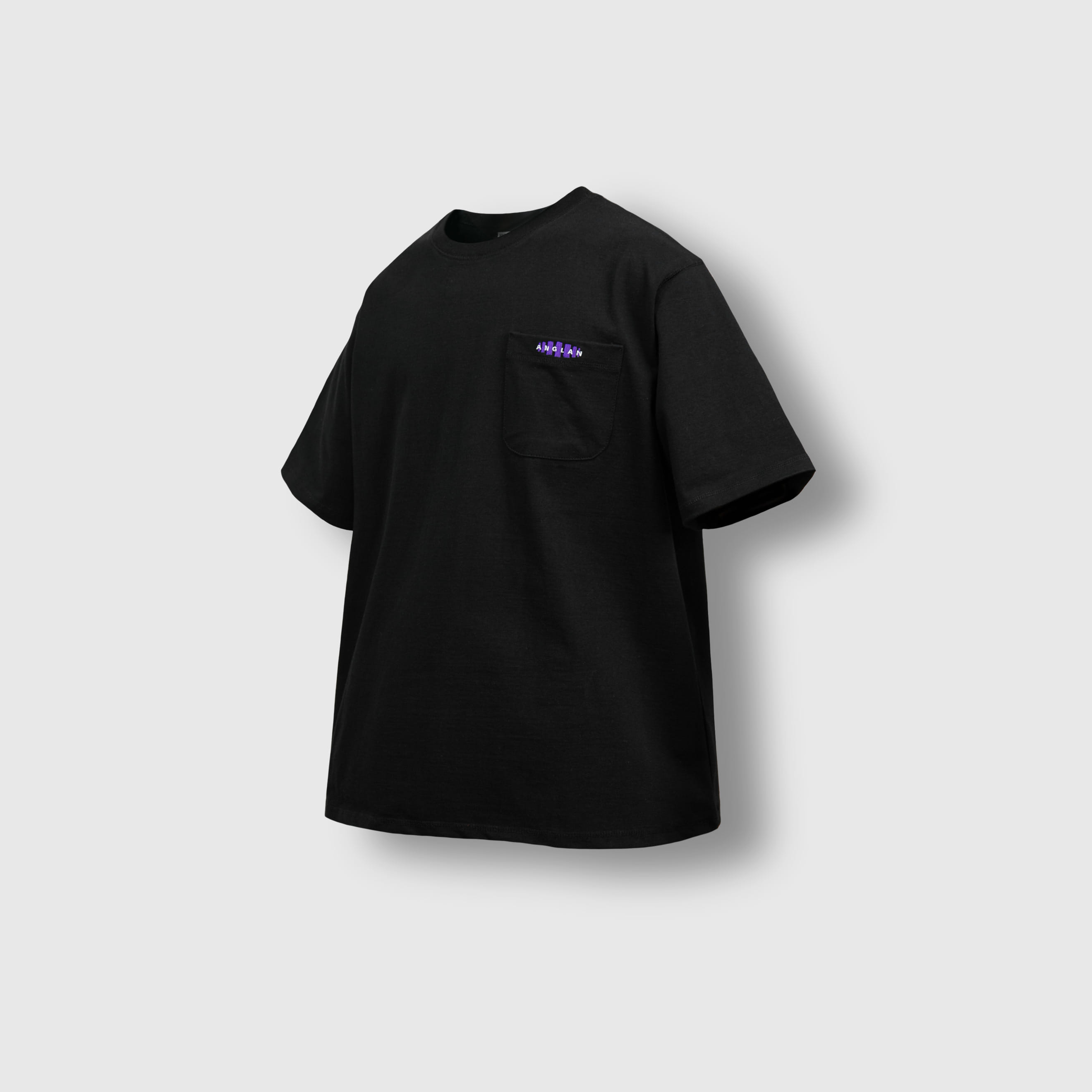 [AG] Double Logo Pocket Half Tee - Black