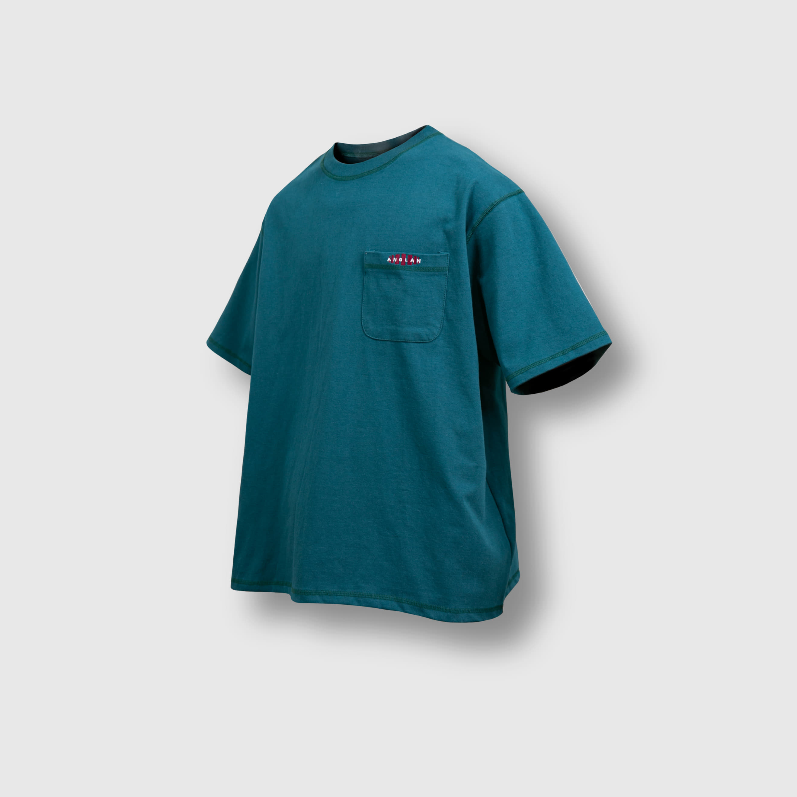 [AG] Double Logo Pocket Half Tee - Blue Green