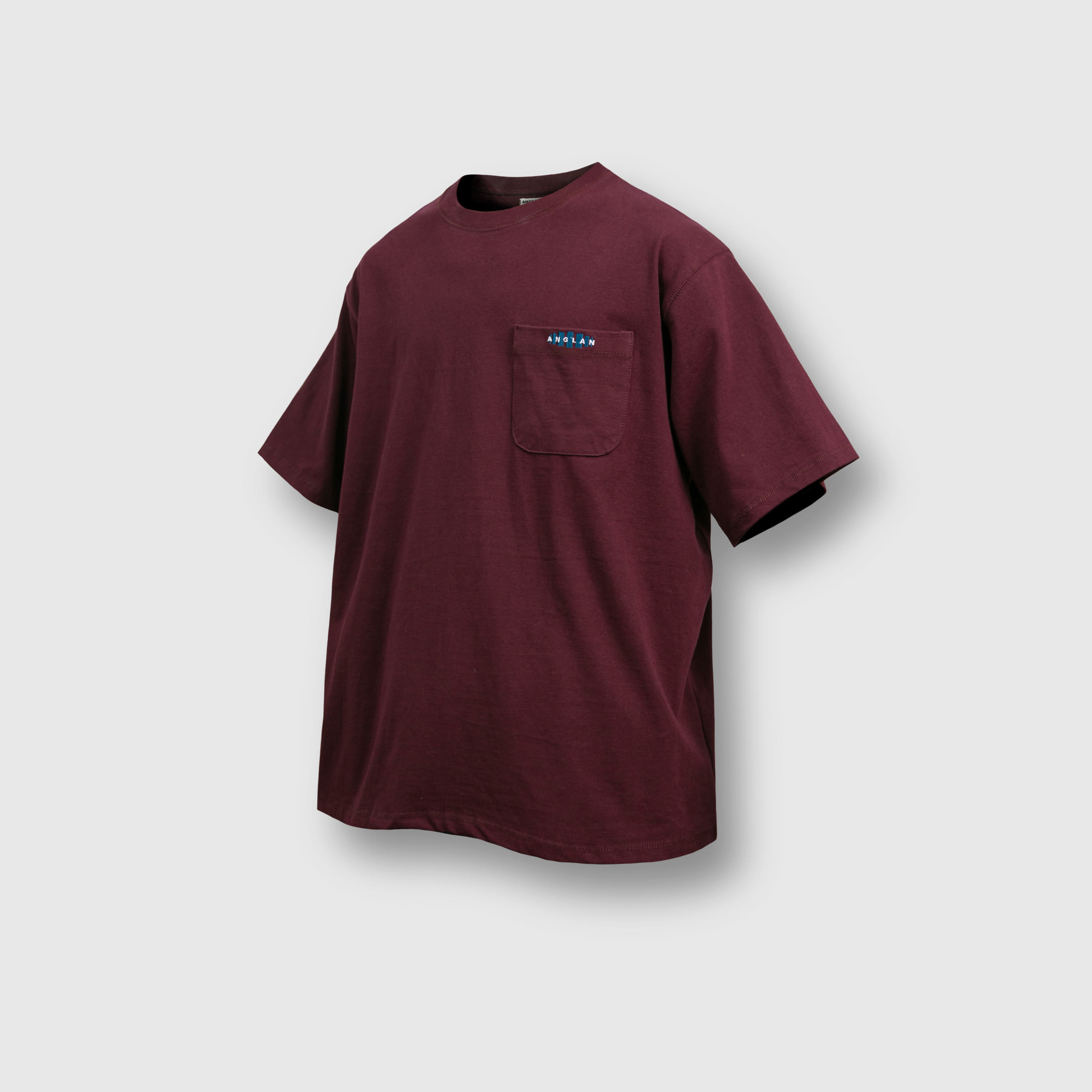 [AG] Double Logo Pocket Half Tee - Burgundy