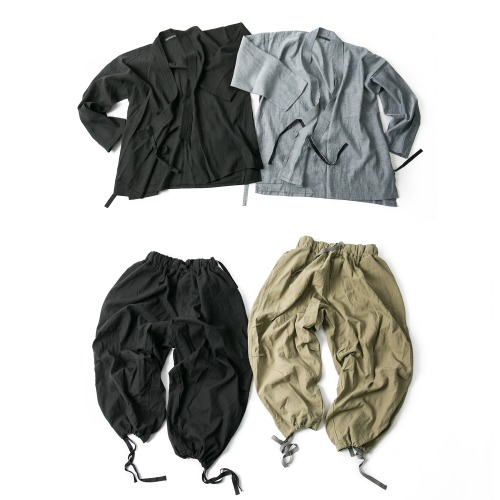 Linen Trim Jinbey & ARMY Linen Balloon Pants