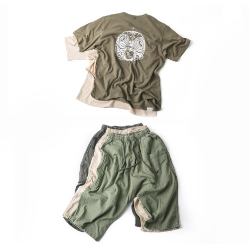 Daruma Tee- 2color & Multi Pocket Washing Pants - 3color
