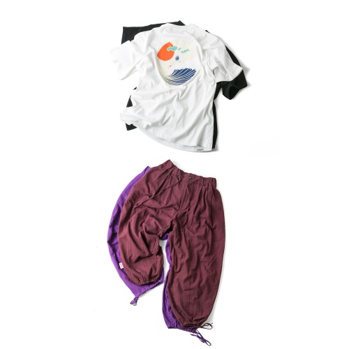 Round Wave Tee & Trim Balloon Pants - 2color