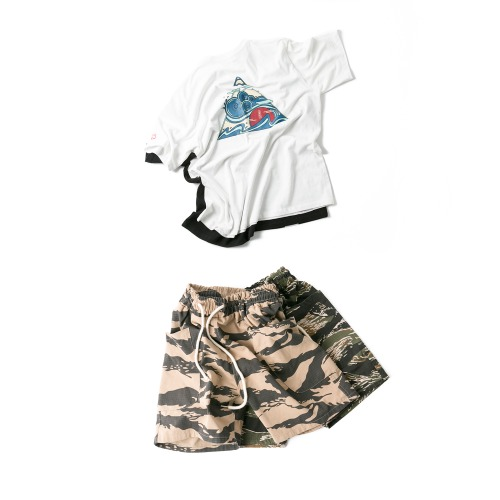 Wind Wave Tee & Tiger Camo Cago Shorts - 2color
