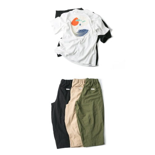 Round Wave Tee & Linen Balloon Pants - 2color