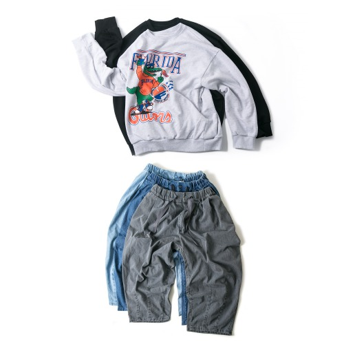 FLORIDA Sweat Shirts & Denim Balloon Pants